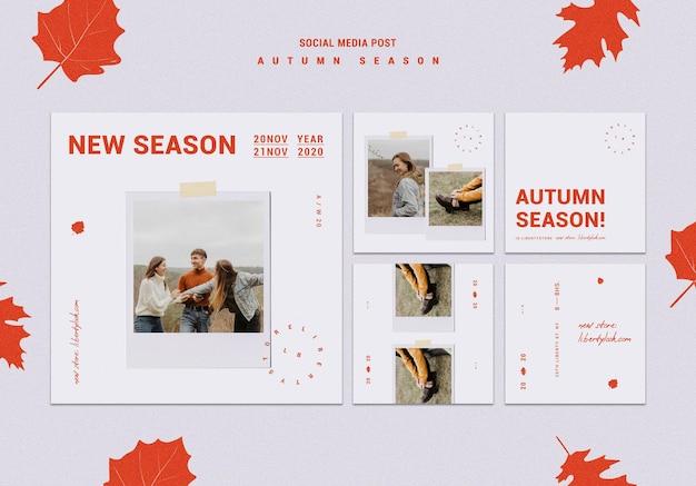 Instagram posta coleção para nova coleção de roupas de outono Psd grátis