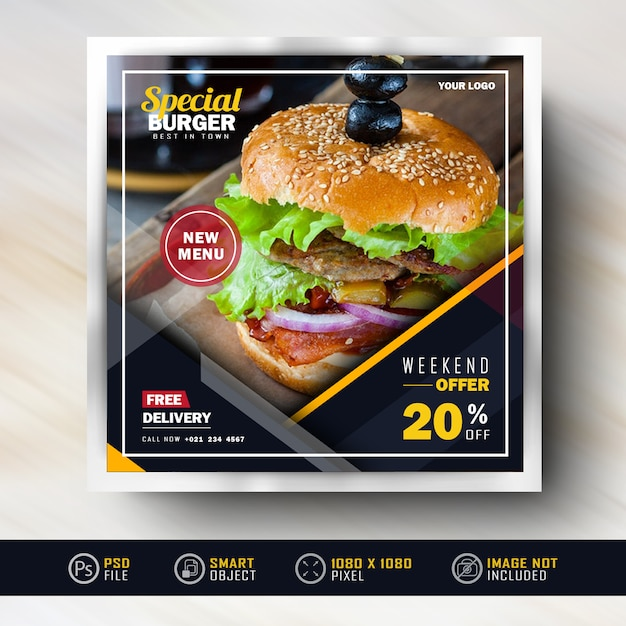 Instagram social media post banner para venda de alimentos Psd Premium