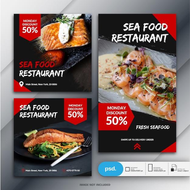 Instagram stories e feed post bundle food business marketing Psd Premium