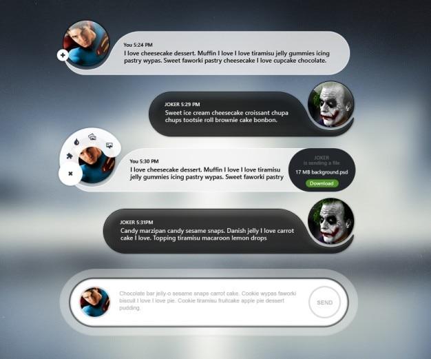 Interface com o usuário móvel bate-papo com avatar Psd grátis