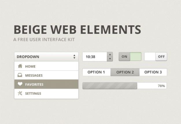 Interface de usuário bege kit de material psd Psd grátis