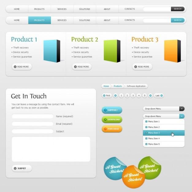 Interface web em tons de cinza com detalhes de cores Psd grátis