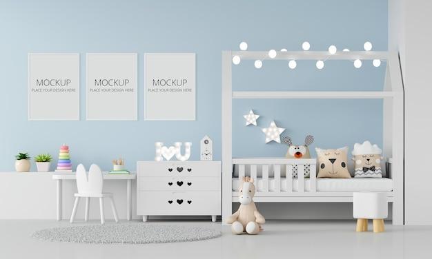 Interior de quarto de criança azul com maquete de quadro Psd Premium
