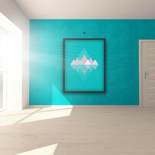 Interior de quarto editável mock up com imagens de suspensão - inserir sua própria imagem no quadro Psd grátis