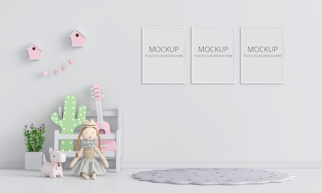 Interior de quarto infantil branco com maquete de quadro Psd Premium