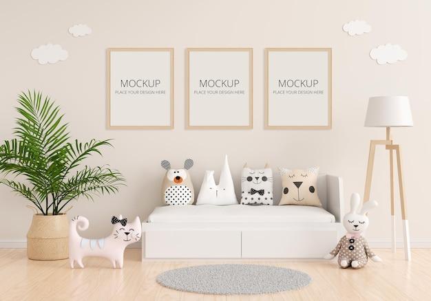 Interior do quarto infantil com maquete Psd Premium