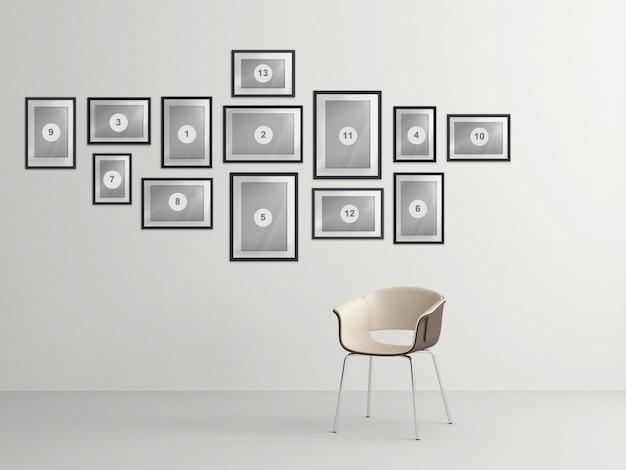 Interior home nórdico com composição de molduras de foto de maquete Psd Premium