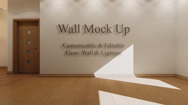 Interior mock up com luz solar editável, piso e paredes Psd grátis