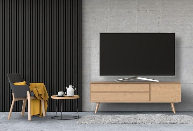 Interior moderna sala de estar com smart tv, armário e poltrona. Psd Premium
