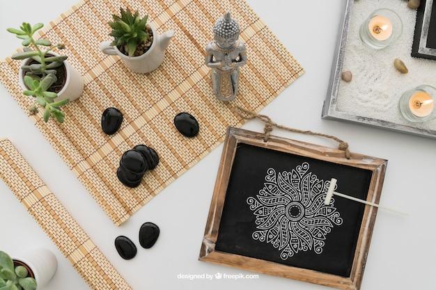 Ioga, composição, desenho, quadro-negro Psd grátis