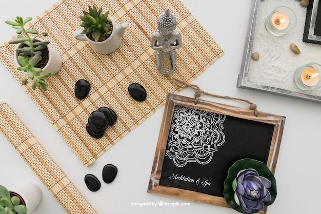 Ioga, decoração, desenho, quadro-negro Psd grátis