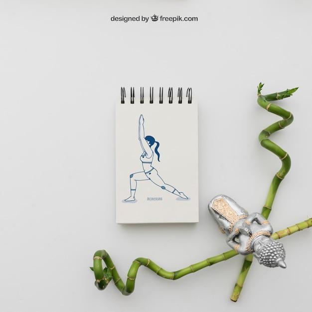 Ioga, pose, desenho, bambu, varas Psd grátis