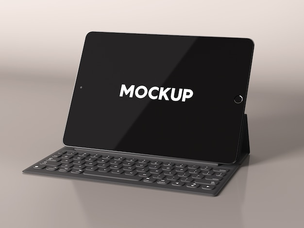 Ipad, teclado, brilhante, fundo, mock, cima, desenho Psd grátis