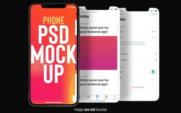 Iphone preto x com telas de interface do usuário mockup top view Psd Premium