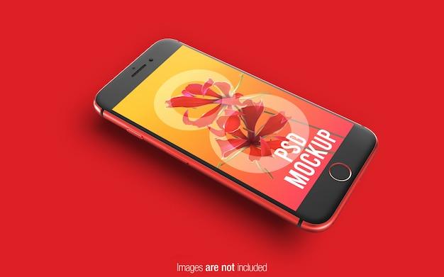 Iphone vermelho 8 psd maquete perspectiva mockup Psd Premium