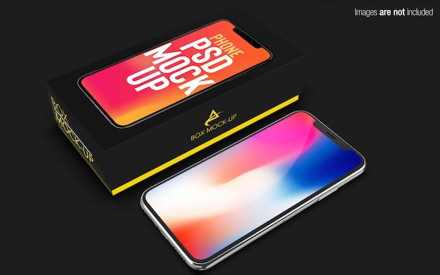 Iphone x psd maquete com caixa de telefone Psd Premium