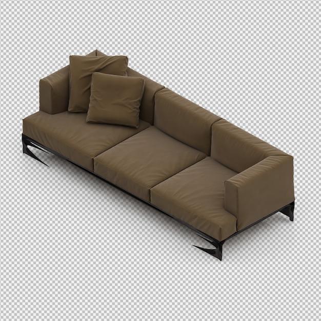 Isometric sofa 3d isolated render Psd Premium