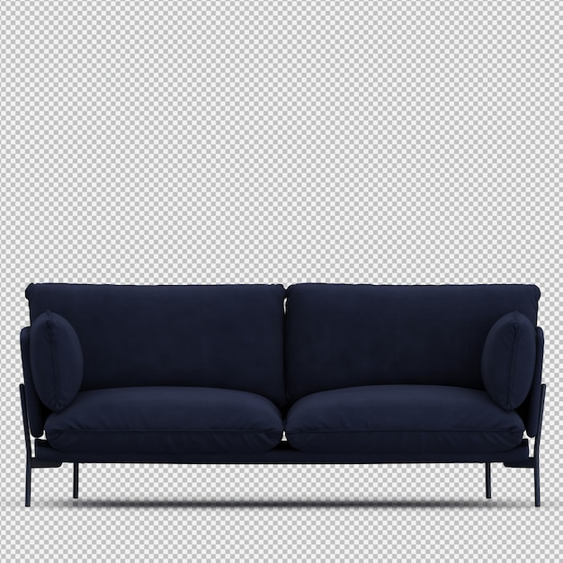 Isometric sofa 3d isolated render Psd Premium