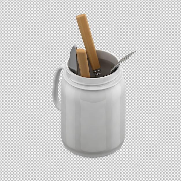 Isométrica cozinha utensílios 3d render Psd Premium