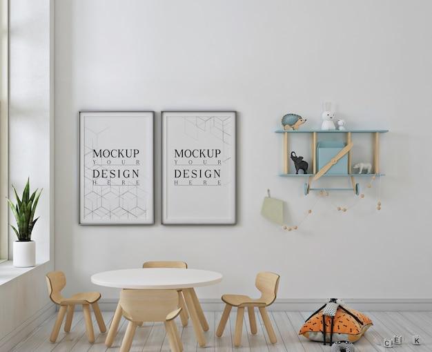 Jardim de infância moderno com maquete de quadro de pôster Psd Premium