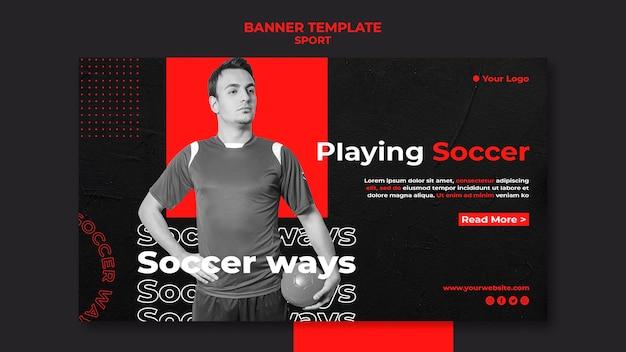Jogando modelo de banner de futebol Psd grátis