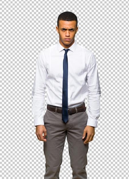 Jovem, afro americano, homem negócios, com, triste, e, deprimido, expressão Psd Premium