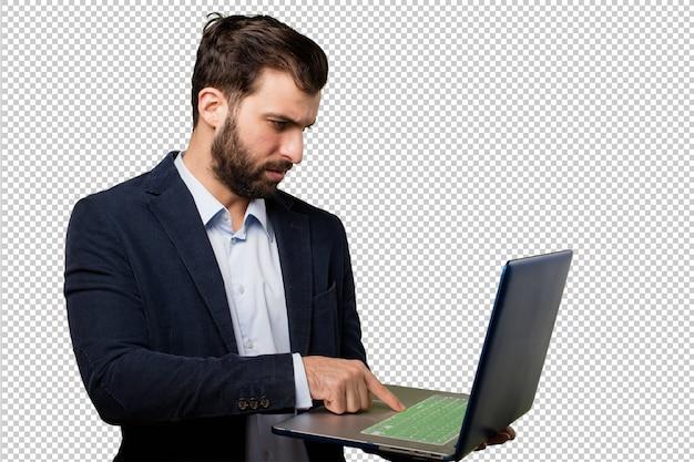 Jovem empresário com um laptop Psd Premium