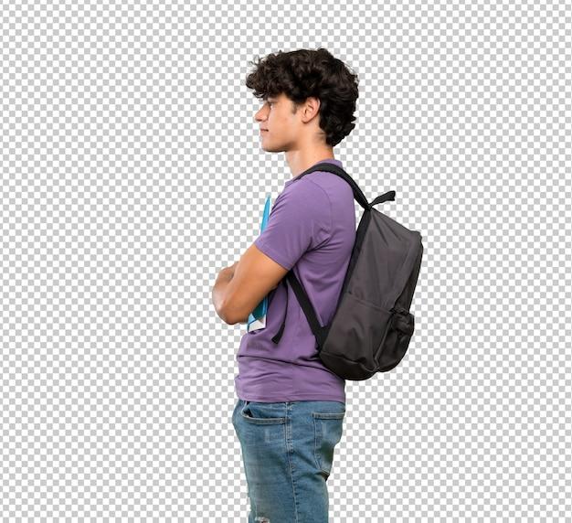 Jovem, estudante, homem, em, posição lateral Psd Premium