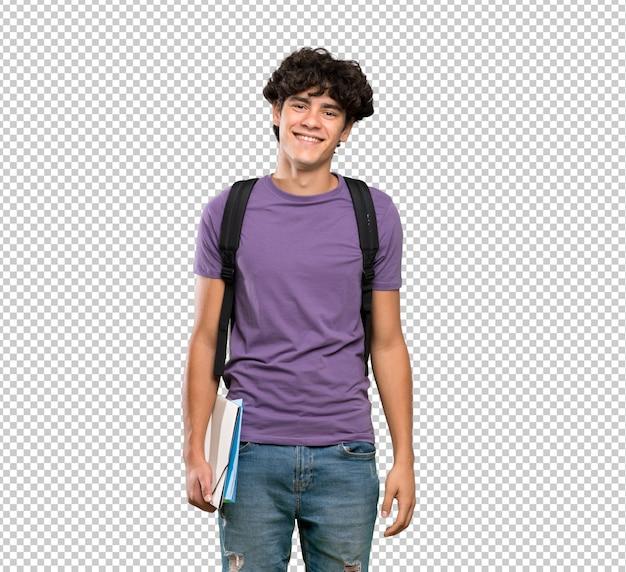 Jovem estudante homem sorrindo muito Psd Premium