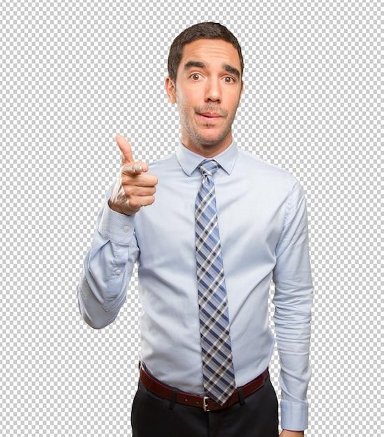 Jovem, homem negócios, apontar, com, seu, dedo Psd Premium