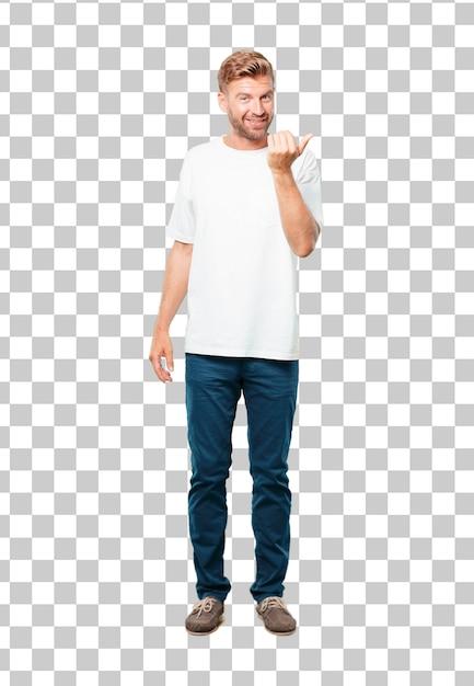 Jovem loira fazendo um gesto de telefonema ou sinal Psd Premium