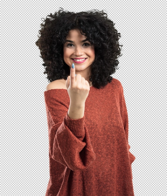 Jovem mulher fazendo gesto a vir Psd Premium
