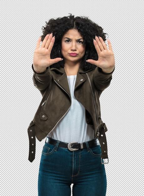 Jovem mulher fazendo o gesto de parada Psd Premium