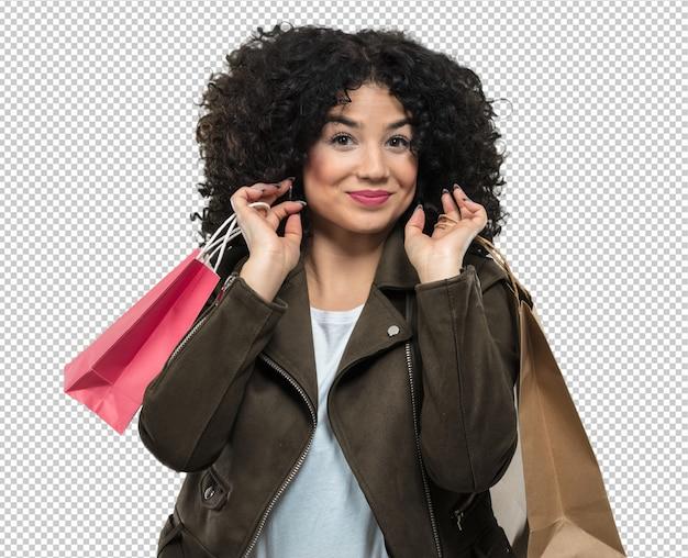 Jovem mulher segurando sacolas de compras Psd Premium