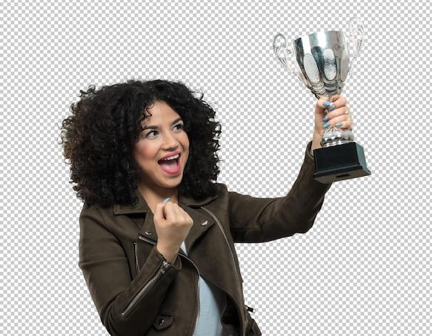 Jovem mulher segurando um troféu Psd Premium