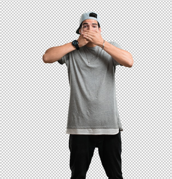 Jovem rapper homem cobrindo a boca, símbolo do silêncio e repressão, tentando não dizer nada Psd Premium