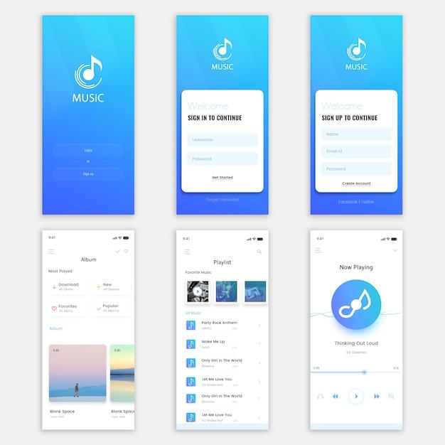 Kit de interface do usuário do aplicativo para dispositivos móveis de música Psd Premium