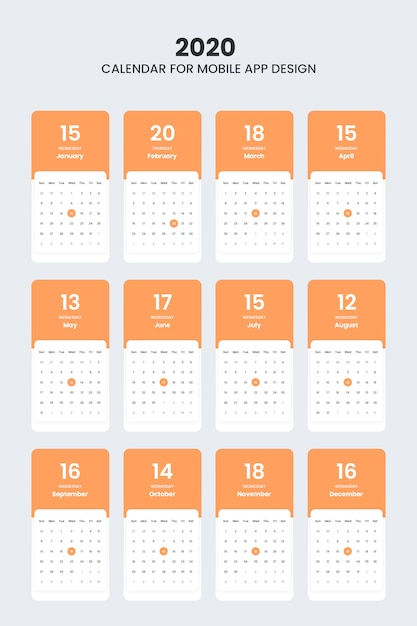 Kit de interface do usuário do calendário 2020 para aplicativos móveis Psd Premium