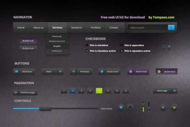 Kit web ui em estilo dark Psd grátis