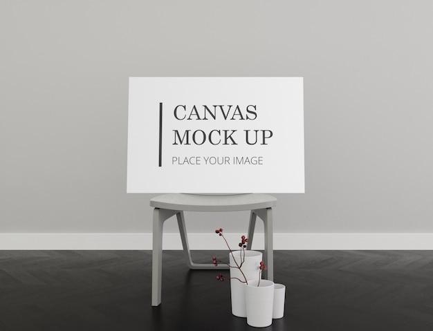 Lanscape frame canvas mock up com cadeira interior monocromático Psd Premium