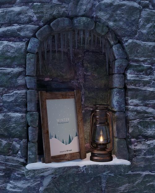 Lanterna e moldura na lareira Psd grátis