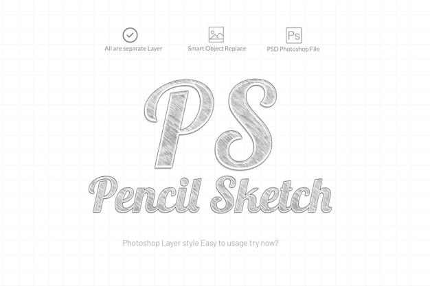 Lápis esboço photoshop efeito de texto Psd Premium