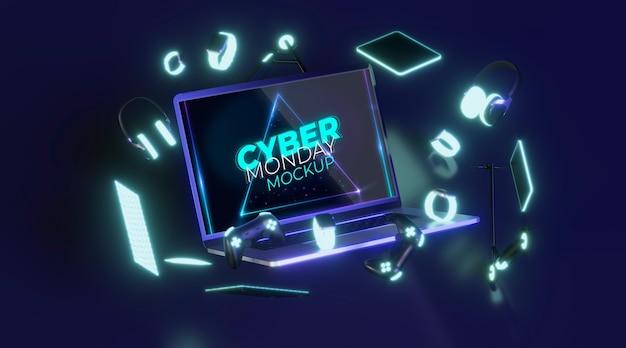 Laptop cibernético de segunda feira frontal para venda de maquete Psd grátis