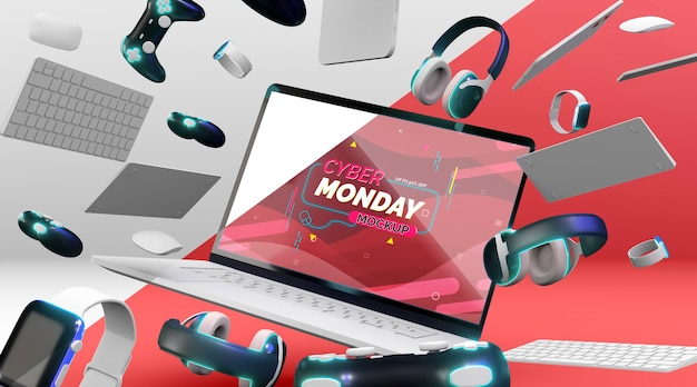 Laptop cyber segunda-feira para venda de maquete Psd grátis
