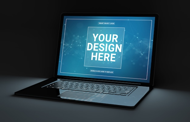 Laptop preto na maquete escura Psd Premium
