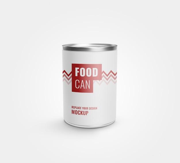 Lata de comida pode rotular maquete realista Psd Premium