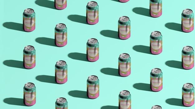 Latas de refrigerante isométricas com fundo azul Psd grátis