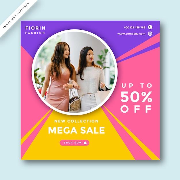 Layout de design de promoção de mídia social de moda Psd Premium