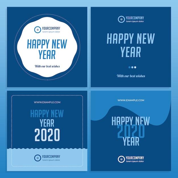Layout de mídia social em cores 2020 para o ano novo Psd Premium