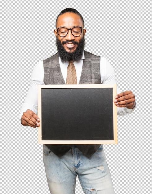 Legal homem negro com um quadro-negro Psd Premium
